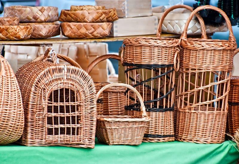 Rieten birdcages. royalty-vrije stock fotografie