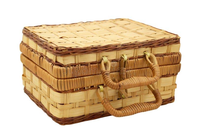 Rieten doos voor handwerk over wit royalty-vrije stock foto