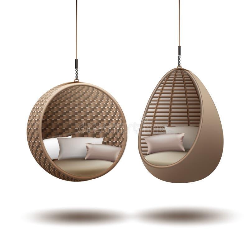 Rieten hangende stoelen stock illustratie