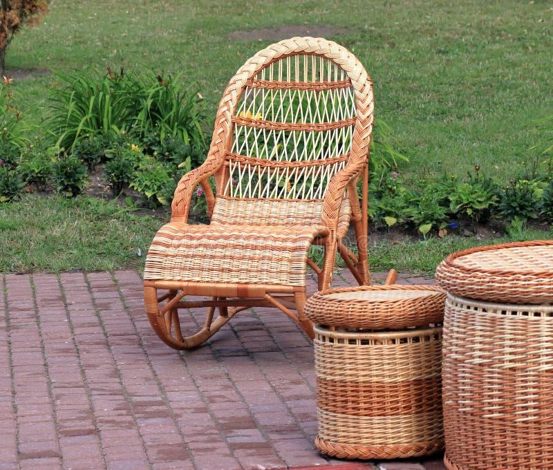 Rieten houten meubilair royalty-vrije stock foto's
