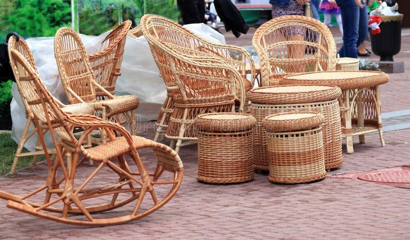 Rieten houten meubilair royalty-vrije stock foto