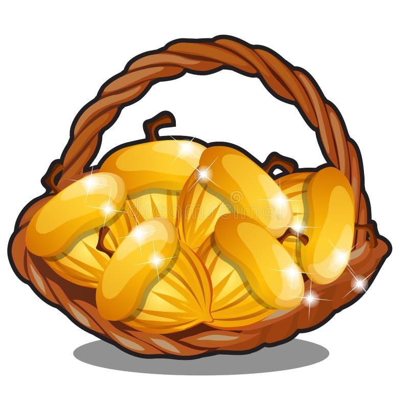 Rieten mand die met gouden noten wordt gevuld die op witte achtergrond worden geïsoleerd Het karakter van Russische volksverhalen vector illustratie