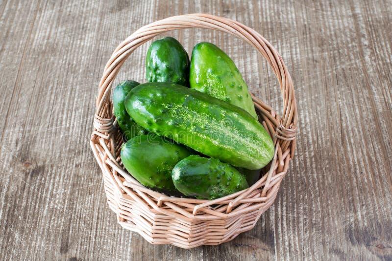 Rieten mand van verse komkommers royalty-vrije stock afbeelding