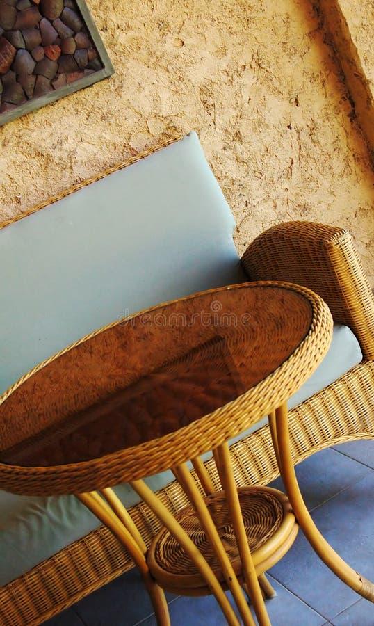 Rieten meubilair royalty-vrije stock foto