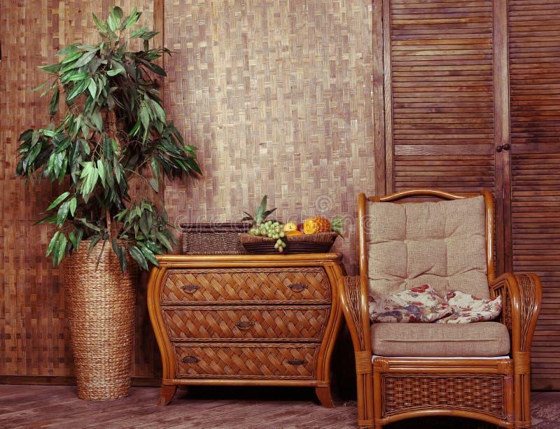 Rieten meubilair stock fotografie