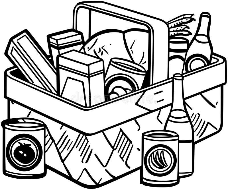 rieten picknickmand stock illustratie