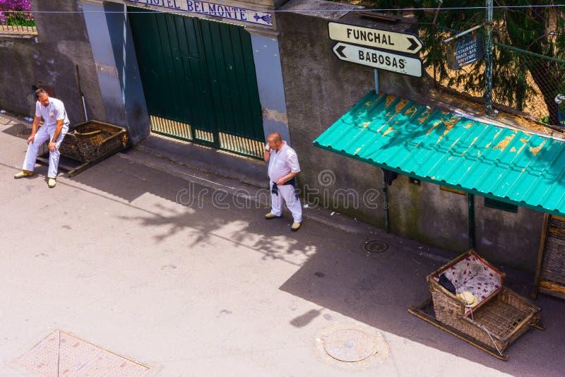Rieten toboggan rit van Monte aan Funchal royalty-vrije stock afbeelding