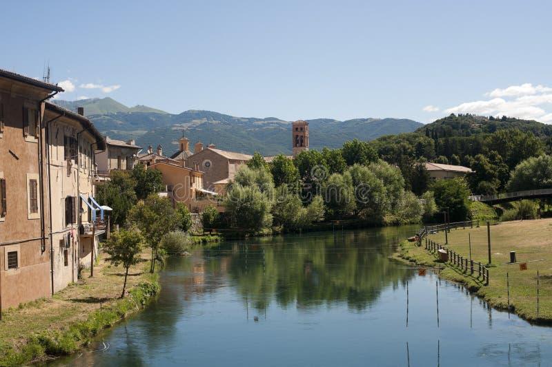 Rieti (Italy) - edifícios no rio imagens de stock royalty free