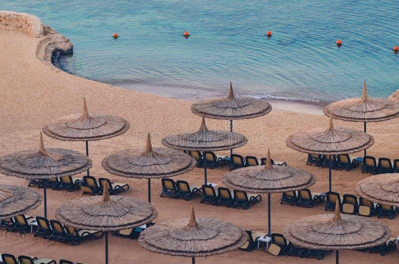 Rietparaplu's met lanterfanters op een mooi zandig strand royalty-vrije stock afbeeldingen