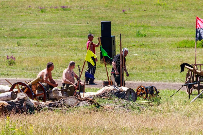 rievocazione del Fest di Kozak di festival della Ethno-roccia della battaglia di Zhovti Vody fotografia stock libera da diritti