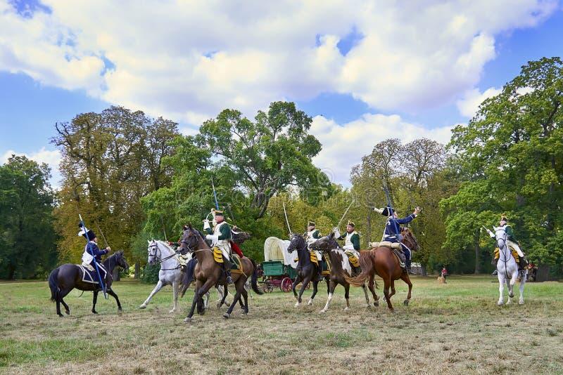 Rievocazione storica della battaglia dei tre imperatori in Slavkov-Austerlitz fotografie stock libere da diritti