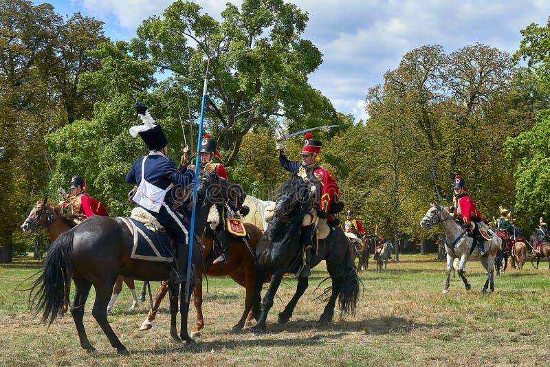 Rievocazione storica della battaglia dei tre imperatori in Slavkov-Austerlitz fotografia stock libera da diritti