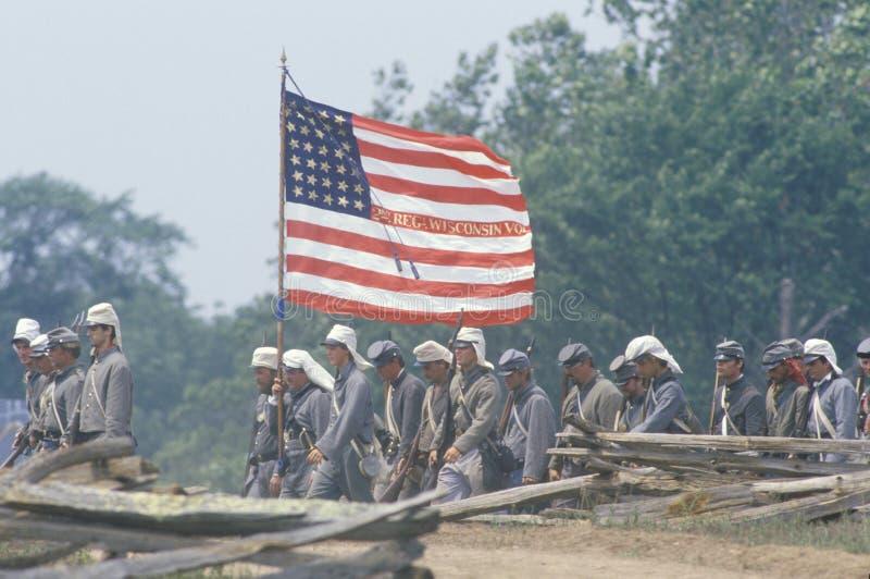 Rievocazione storica della battaglia di Manassas, segnante l'inizio della guerra civile, la Virginia immagine stock libera da diritti
