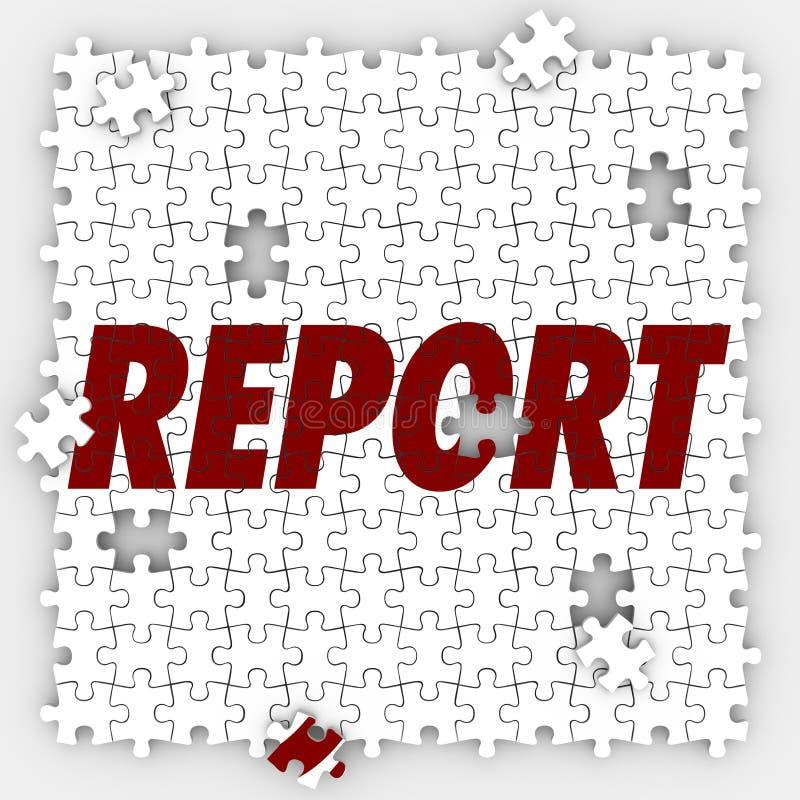 Riferisca i pezzi di puzzle che seguono la prestazione del bilancio di vendite royalty illustrazione gratis