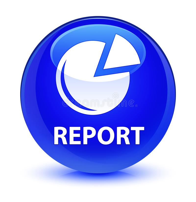 Riferisca (icona del grafico) il bottone rotondo blu vetroso royalty illustrazione gratis