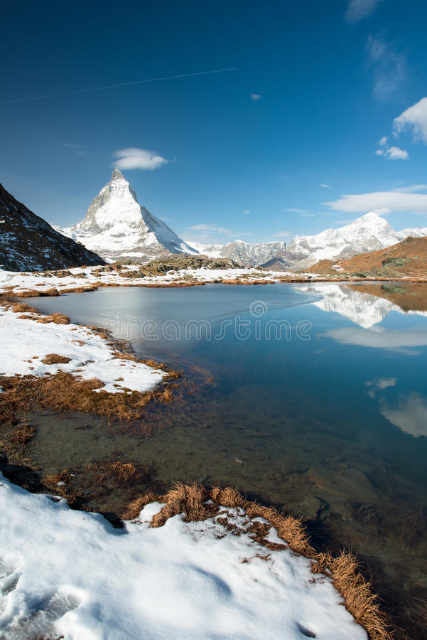 Download Riffelsee With Matterhorn Royalty Free Stock Photography - Image: 27363347