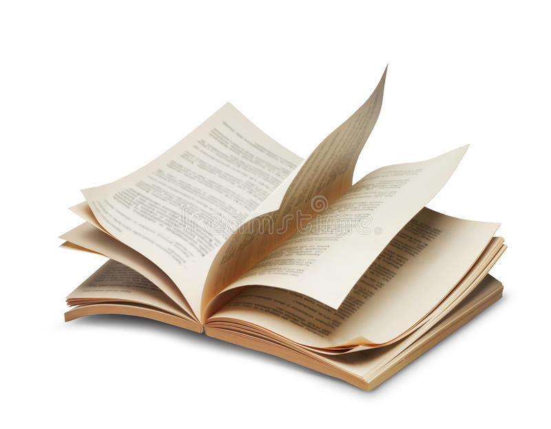 riffling书开放的页 免版税库存照片
