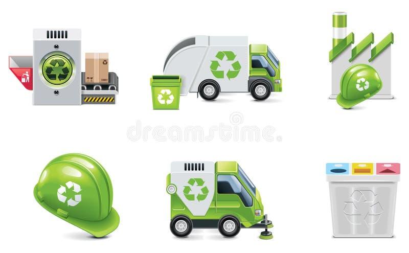 Rifiuti di vettore che riciclano l'insieme dell'icona illustrazione di stock