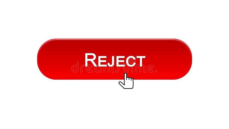 Rifiuti il bottone dell'interfaccia di web cliccato con il cursore del topo, il colore rosso, accesso negato illustrazione di stock