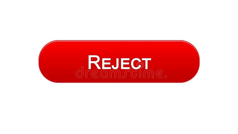Rifiuti il colore rosso del bottone dell'interfaccia di web, la progettazione del sito internet, accesso negato illustrazione vettoriale