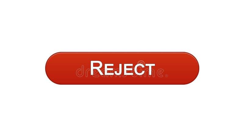 Rifiuti il colore rosso del vino del bottone dell'interfaccia di web, la progettazione del sito internet, accesso negato illustrazione di stock