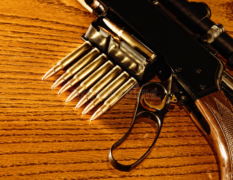 Rifle And Ammunition (Lever Action, 30.06) Stock Photography