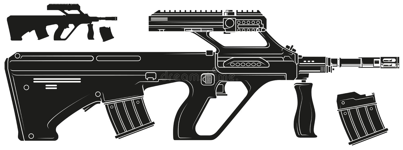 Rifle automático moderno do bullpup da silhueta gráfica ilustração stock