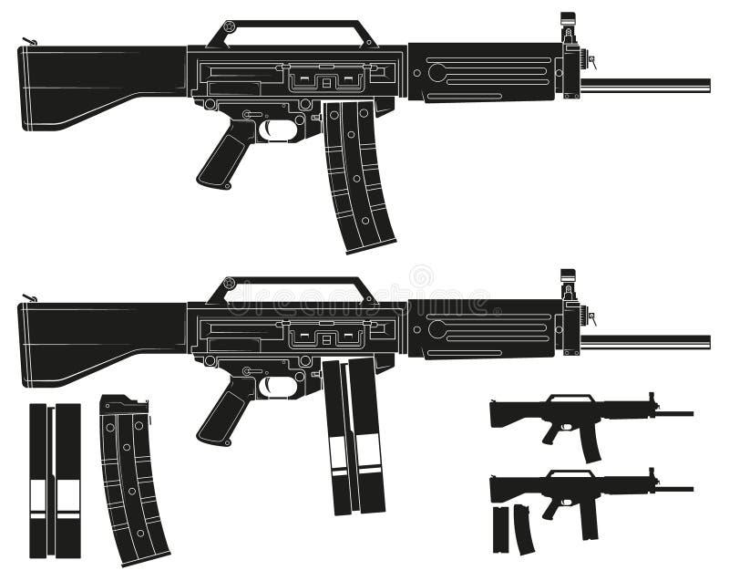 Rifle automático moderno do galil da silhueta gráfica ilustração do vetor