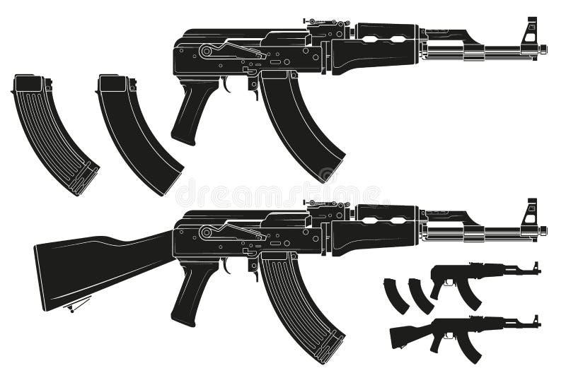 Rifle automático moderno do russo da silhueta gráfica ilustração royalty free