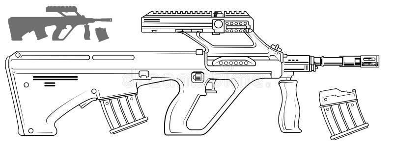Rifle automático moderno gráfico do bullpup ilustração royalty free