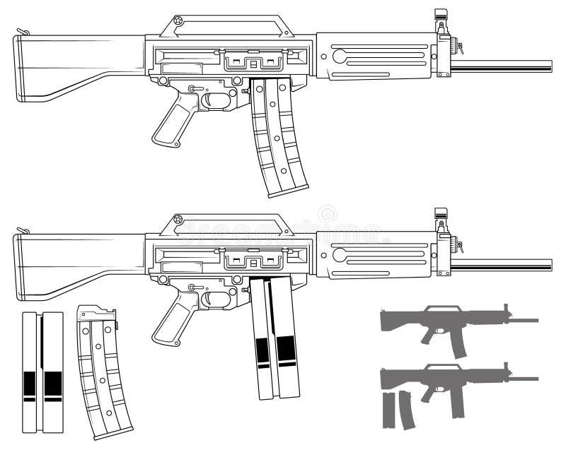 Rifle automático moderno gráfico do galil ilustração stock