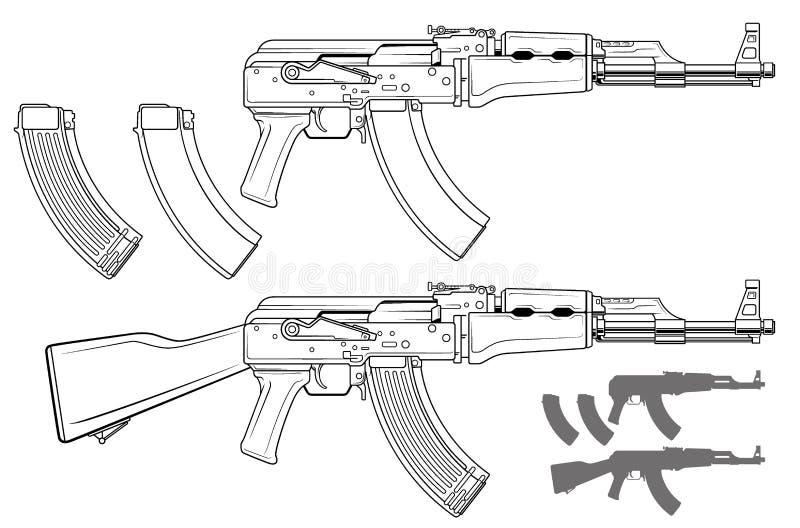 Rifle automático moderno gráfico do russo ilustração royalty free