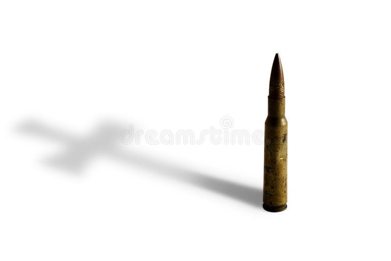 Rifle Bullet with Cross Shadow stock image