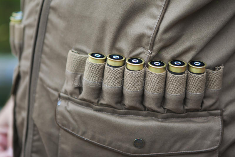 Rifle cartridges. In a sheath royalty free stock image