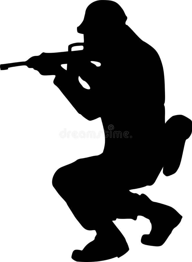 Rifle de Silhouette del soldado ilustración del vector