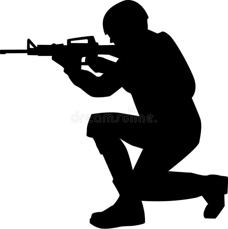 Rifle de Silhouette do soldado ilustração royalty free