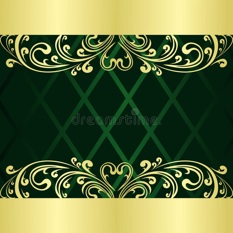 Rifle-green Background decorated a gold border. vector illustration