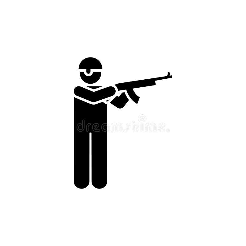 Rifle, homem, soldado, forças armadas, capacete, ícone do pictograma da arma ilustração do vetor