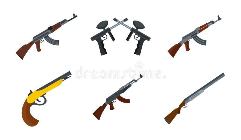 Rifle icon set, flat style vector illustration