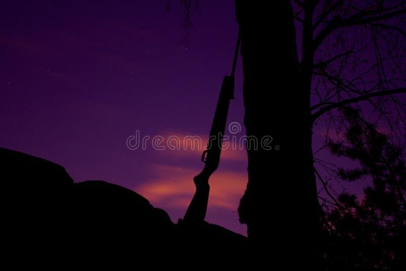 Rifle que inclina-se contra a árvore foto de stock royalty free