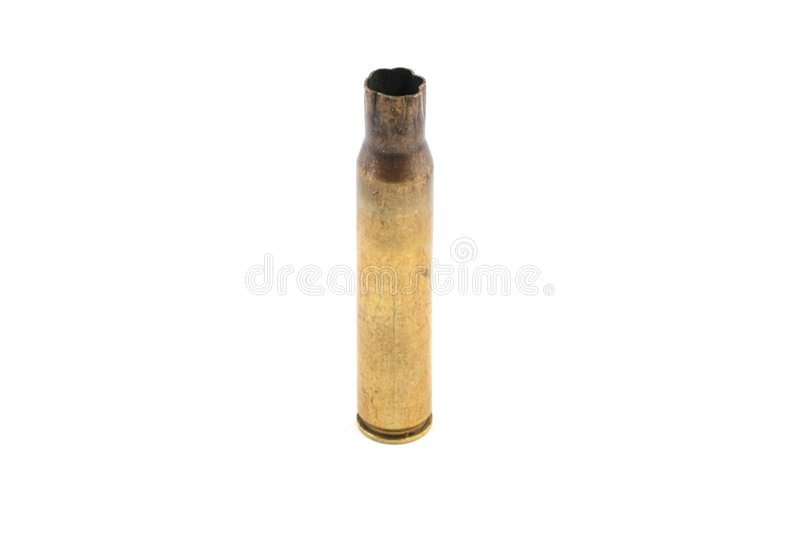 Rifle shell casing. On a white background stock photo
