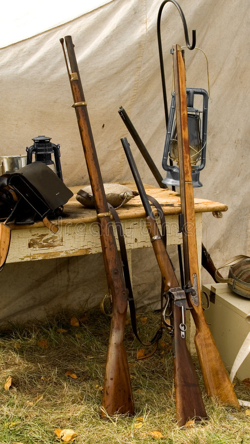 Download Rifles stock image. Image of tools, light, fire, tent - 3435849