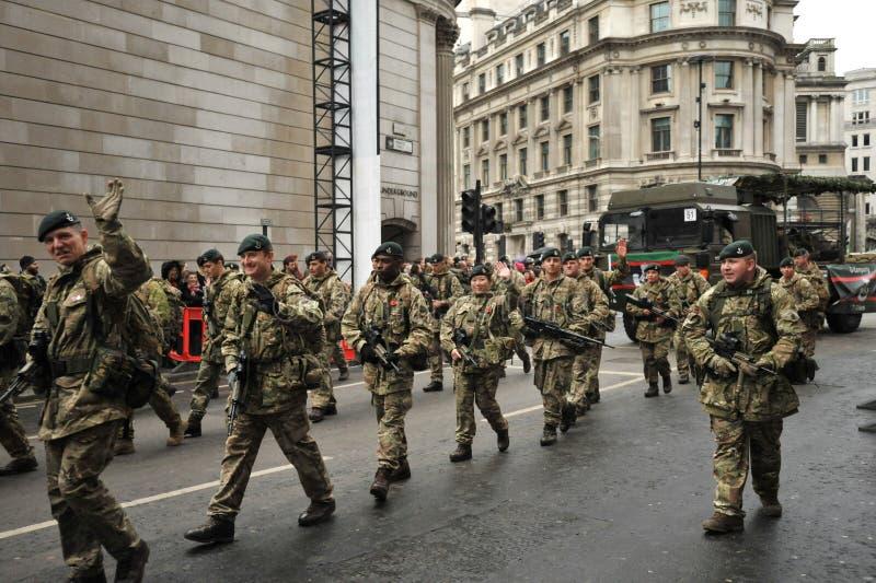 7 RIFLES est le bataillon d'infanterie de réserve des fusils de Londres et du Sud images libres de droits
