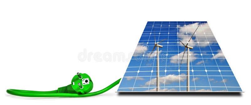 Riflessione dei generatori eolici in pannello solare con la spina elettrica verde immagine stock libera da diritti