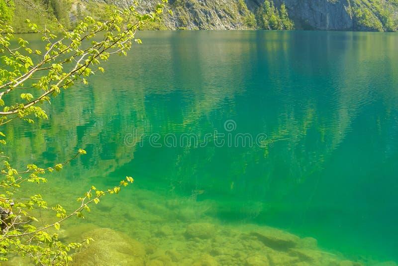 Riflessione dei picchi alpini in lago cristallino Obersee immagini stock