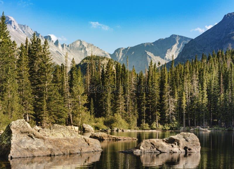 Riflessione del lago bear; Rocky Mountain National Park, CO fotografia stock
