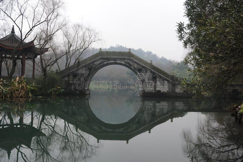 Riflessione del ponte nel lago XiHu fotografia stock