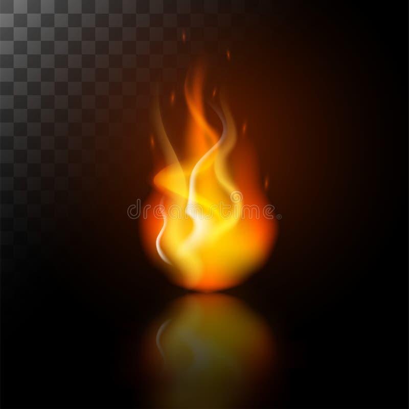 Riflessione dell'icona dell'ustione della fiamma del fuoco illustrazione di stock
