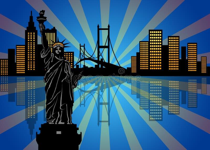 Riflessione dell'orizzonte di New York City alla notte illustrazione vettoriale