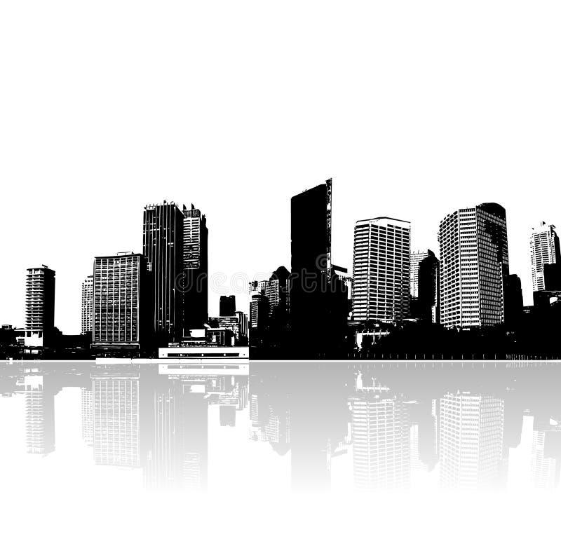 Riflessione della città. Vettore art. illustrazione di stock